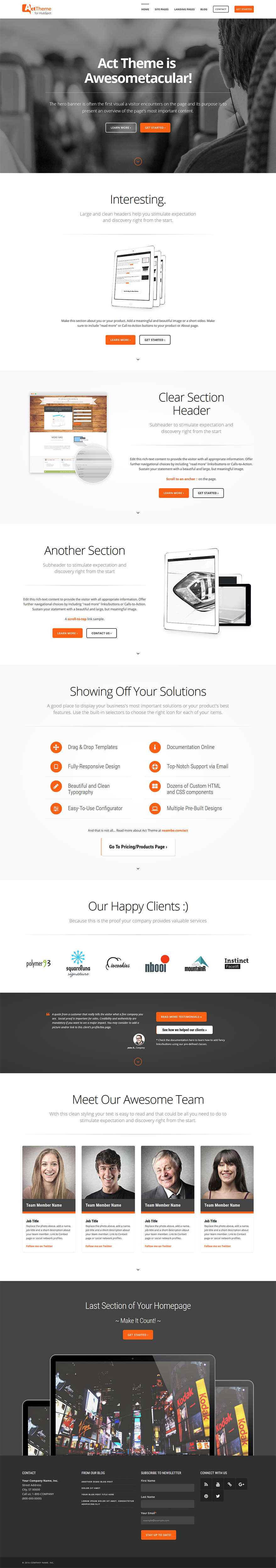 Act Home I - Home Page Template for HubSpot