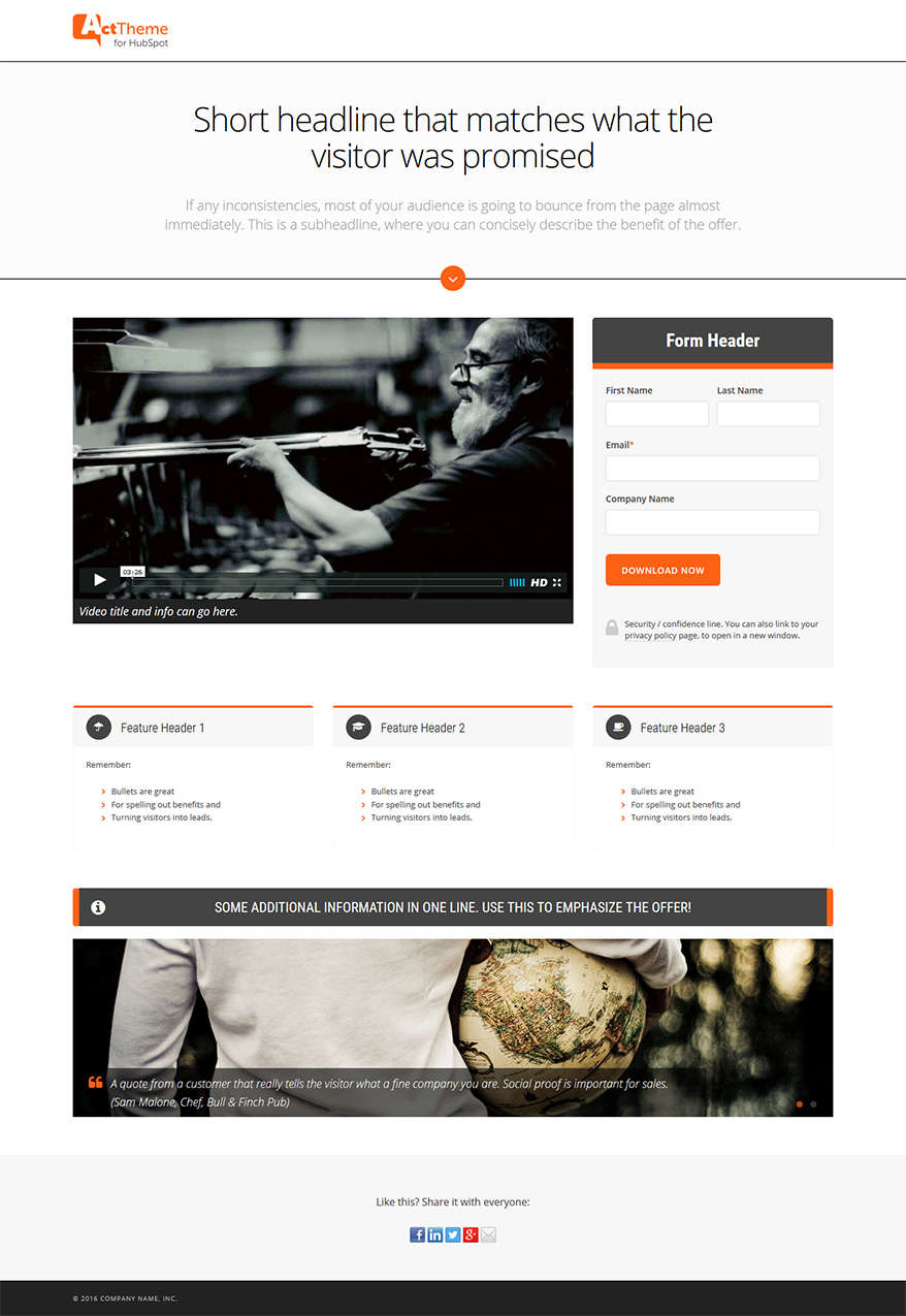 Act LP Complex I - Landing Page Template for HubSpot