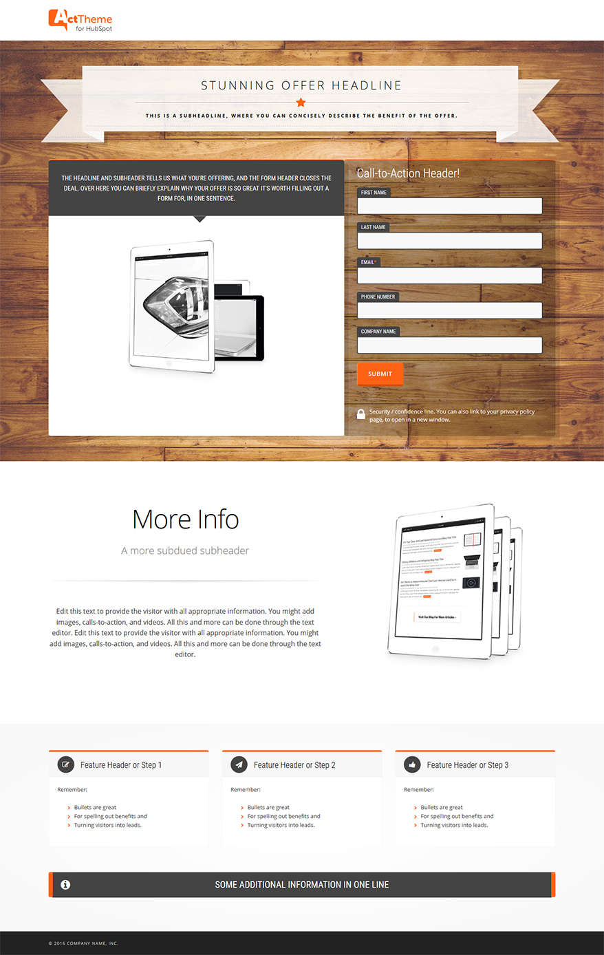 Act LP Hero Offer I - Landing Page Template for HubSpot
