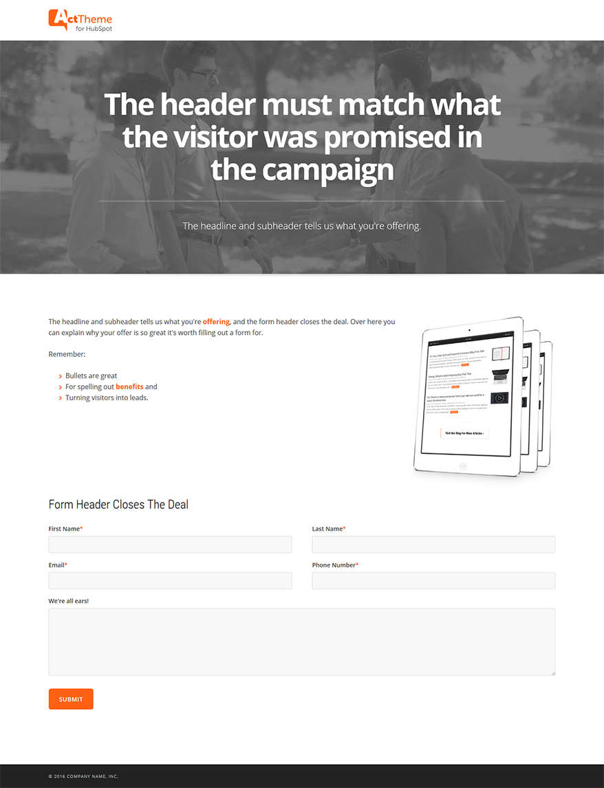 Act LP One Column, Hero - Landing Page Template for HubSpot