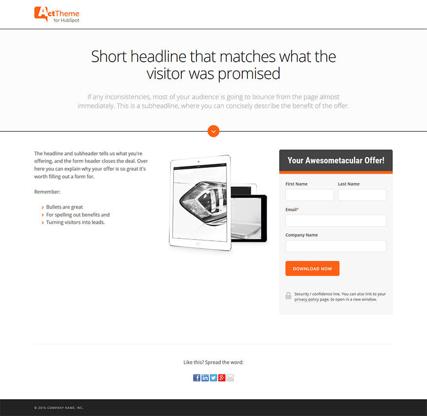 Act LP Simple I - Landing Page Template for HubSpot