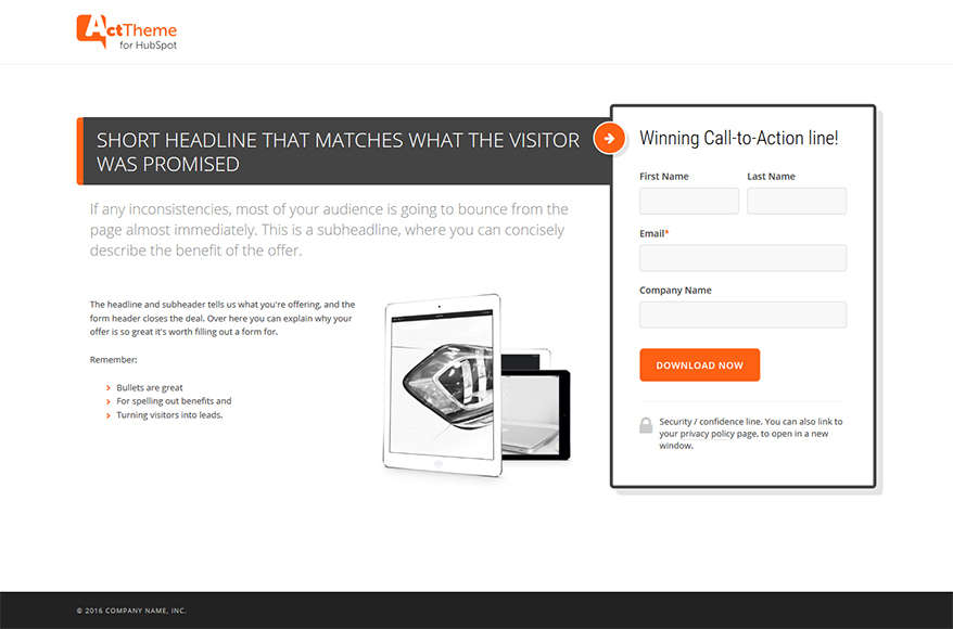 Act LP Simple II - Landing Page Template for HubSpot