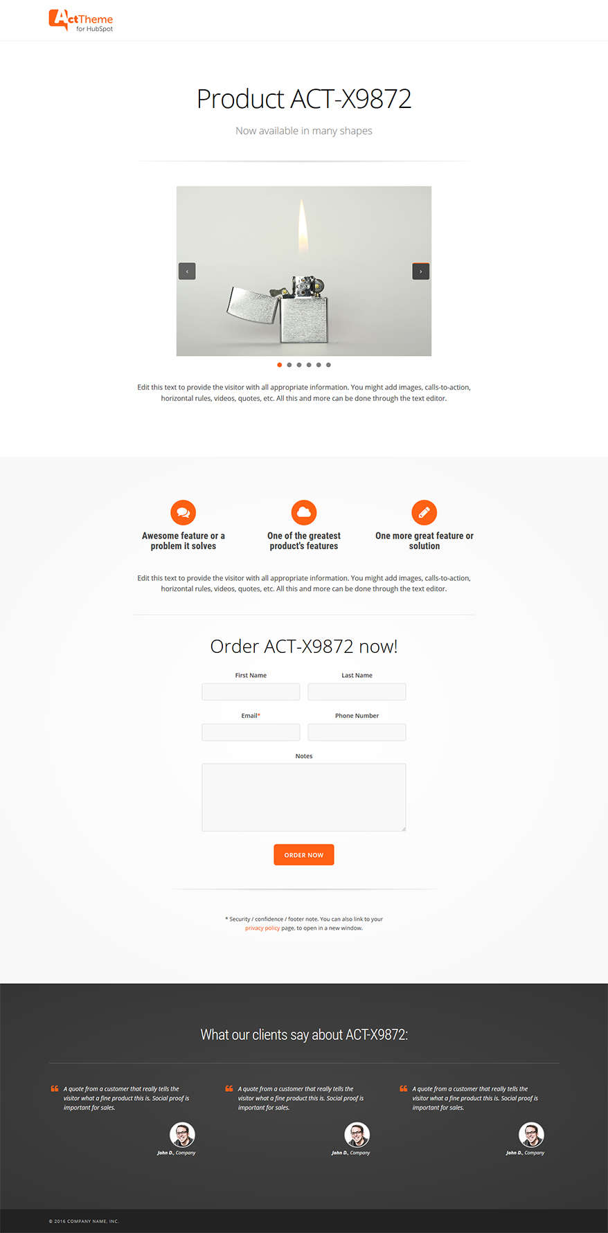 Act LP Single Product - Landing Page Template for HubSpot