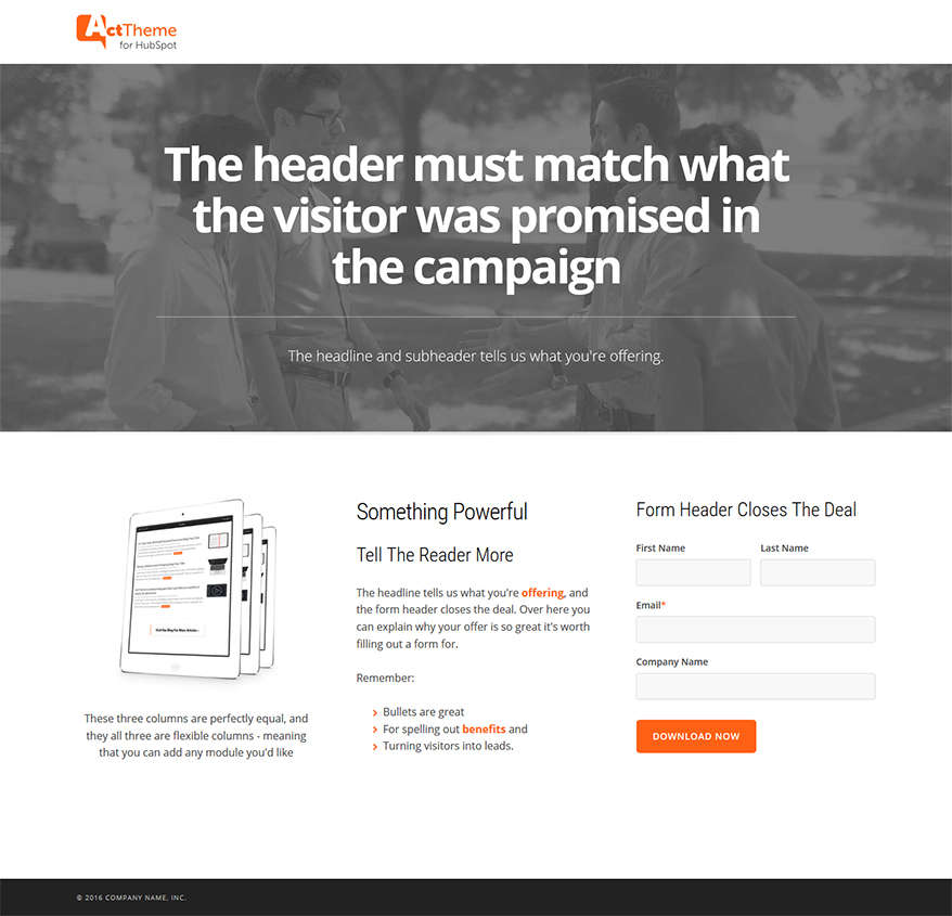 Act LP Three Column Equal, Hero - Landing Page Template for HubSpot
