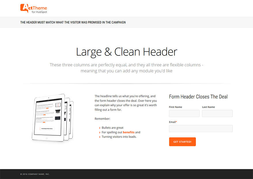 Act LP Three Column Equal - Landing Page Template for HubSpot