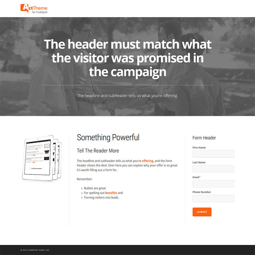 Act LP Three Column, Hero - Landing Page Template for HubSpot