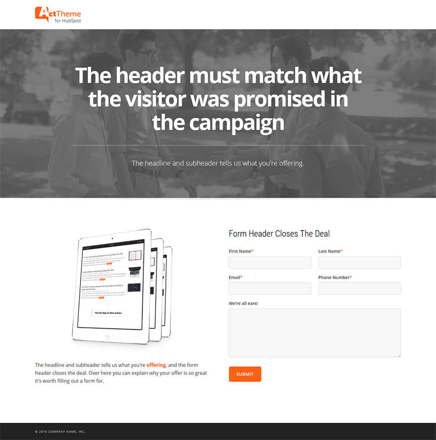 Act LP Two Column Equal, Hero - Landing Page Template for HubSpot