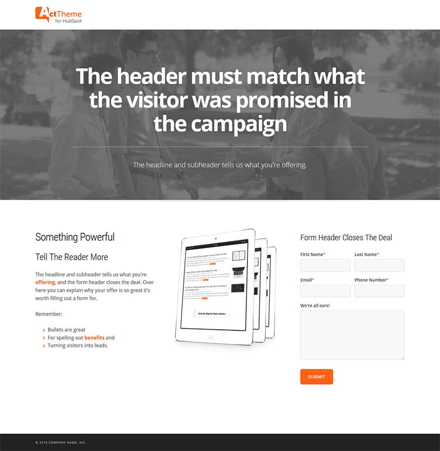 Act LP Two Column, Hero - Landing Page Template for HubSpot