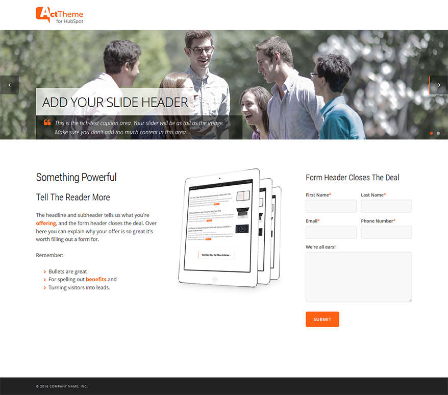 Act LP Two Column, Slider - Landing Page Template for HubSpot