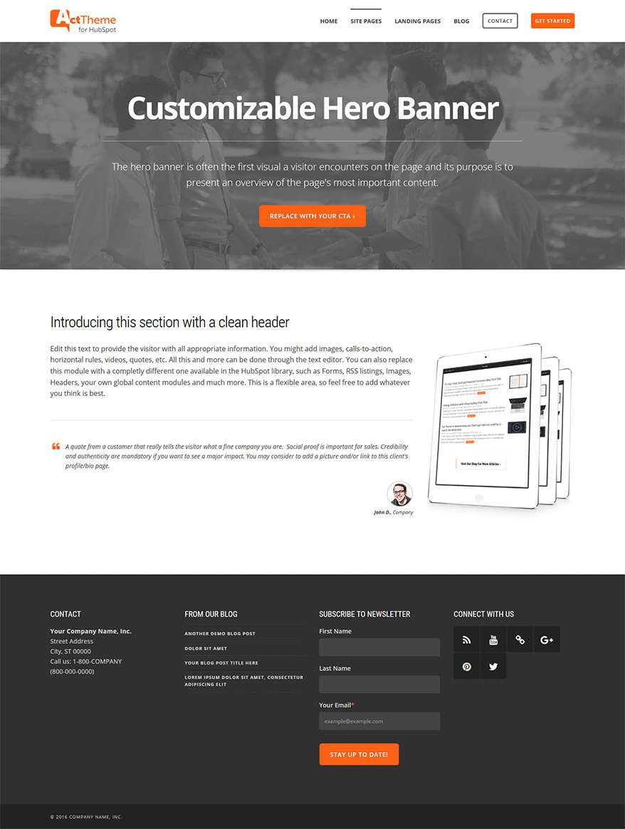 Act One Column, Hero - Site Page Template for HubSpot