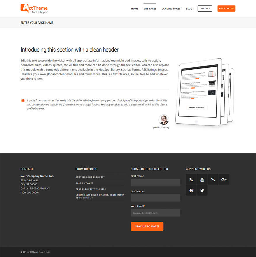Act One Column - Site Page Template for HubSpot