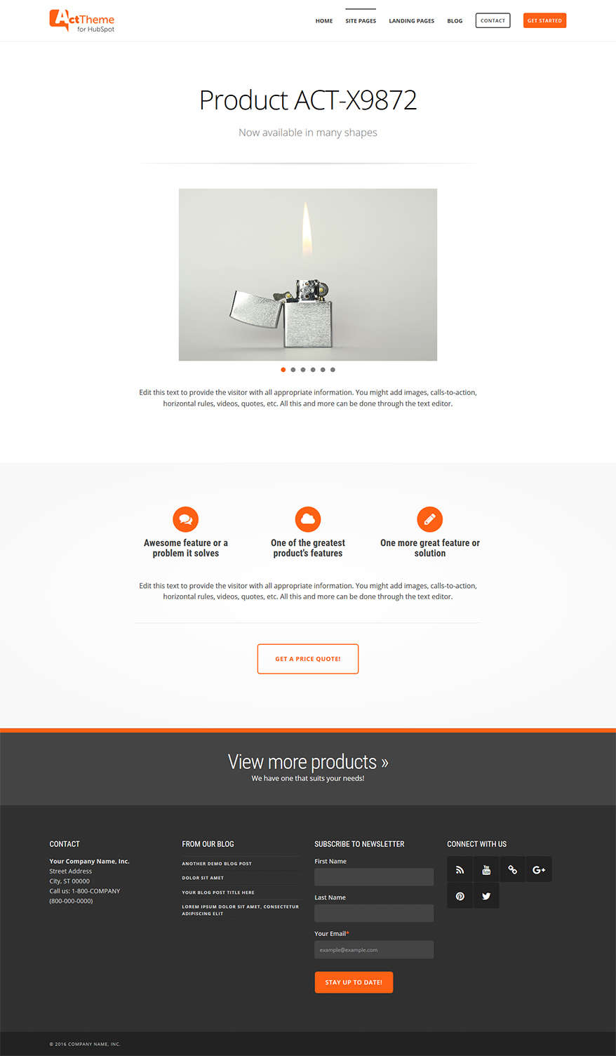 Act Single Product - Site Page Template for HubSpot