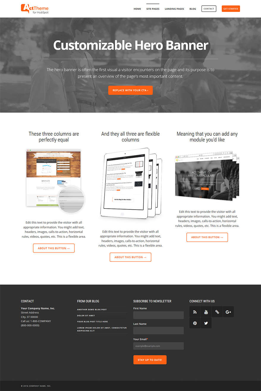 Act Three Column Equal, Hero - Site Page Template for HubSpot
