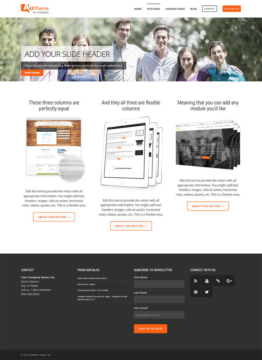 Act Three Column Equal, Slider - Site Page Template for HubSpot