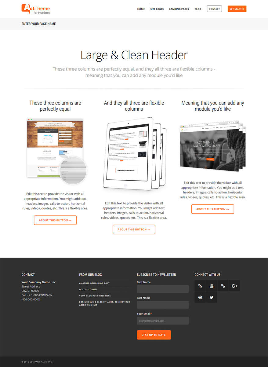 Act Three Column Equal - Site Page Template for HubSpot