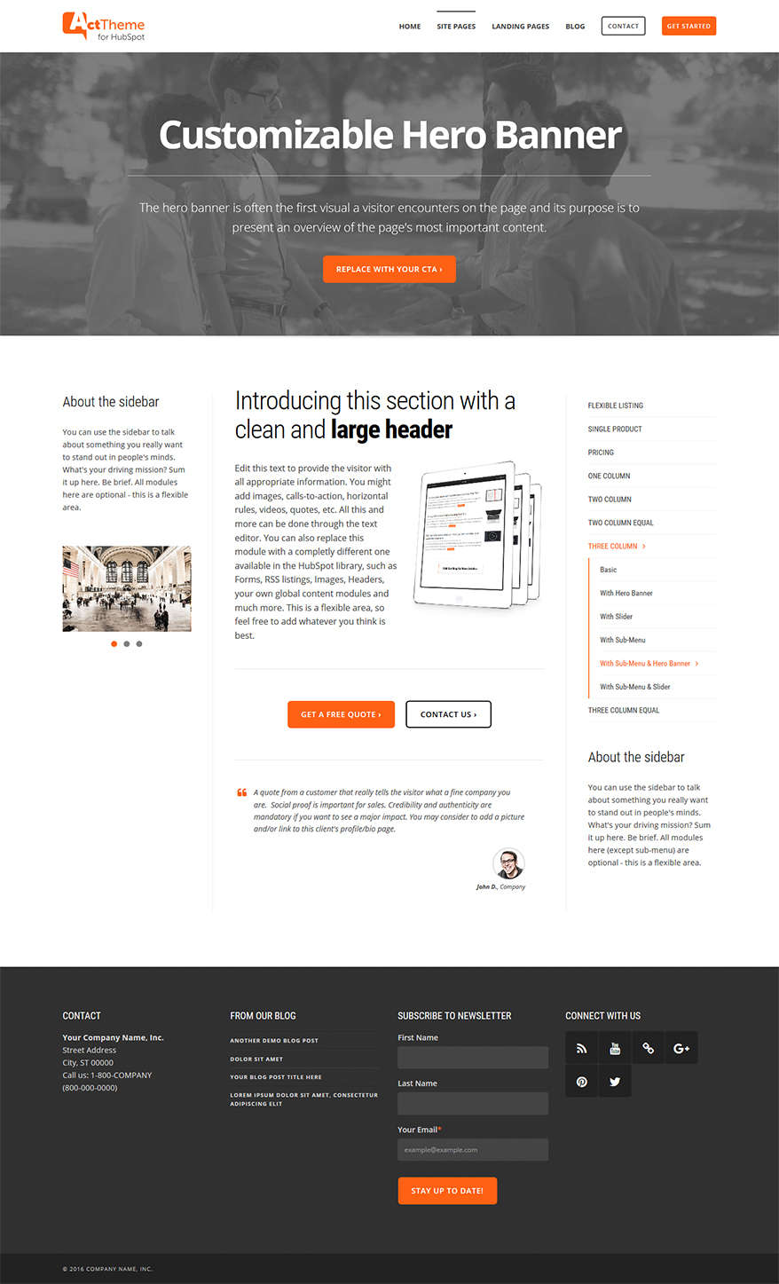 Act Three Column, Hero, Sub-Menu - Site Page Template for HubSpot