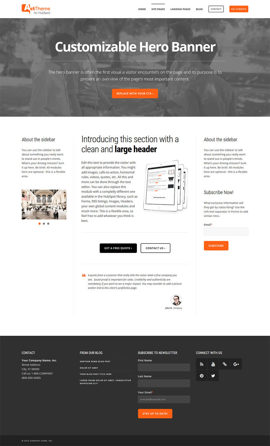 Act Three Column, Hero - Site Page Template for HubSpot