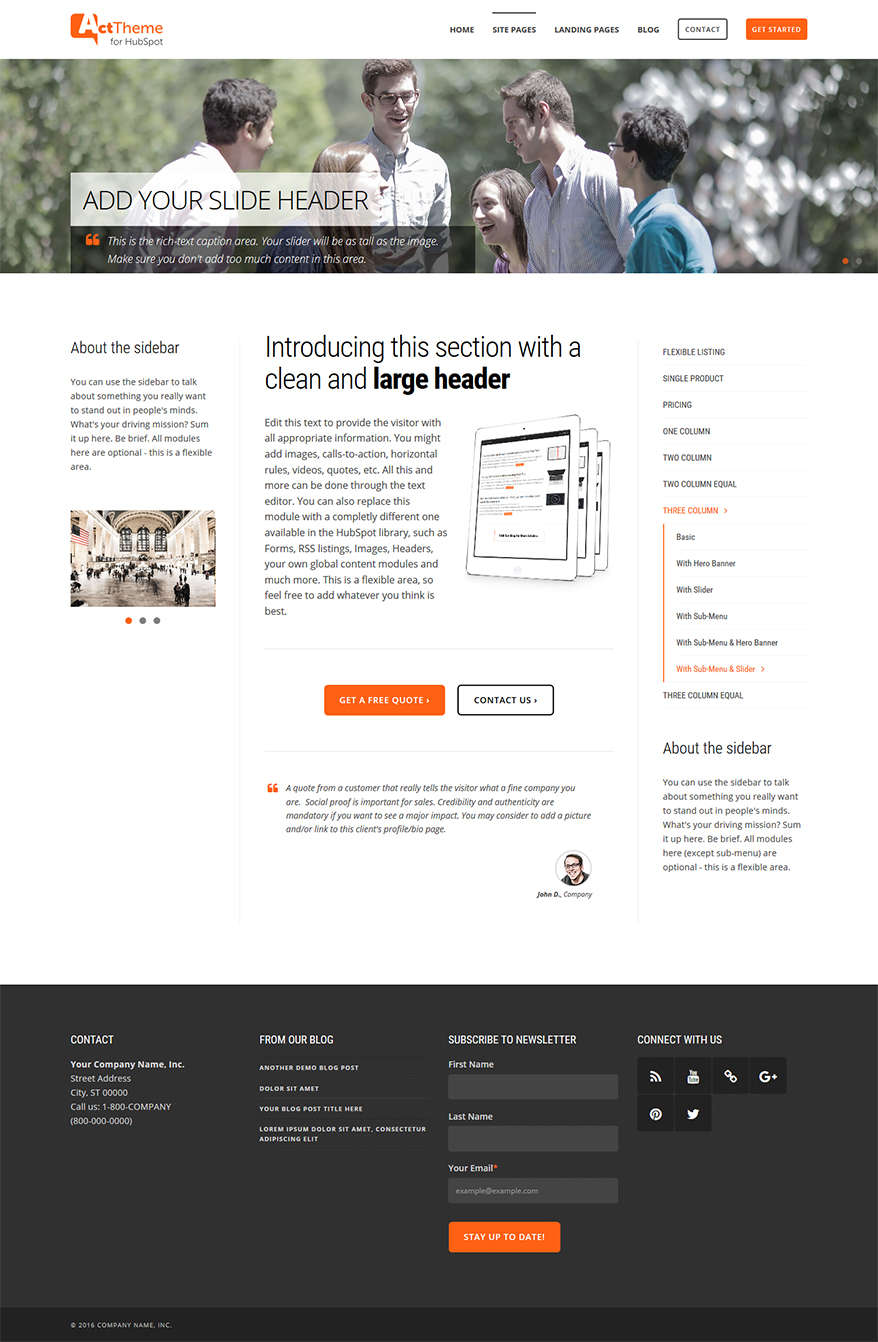Act Three Column, Slider, Sub-Menu - Site Page Template for HubSpot