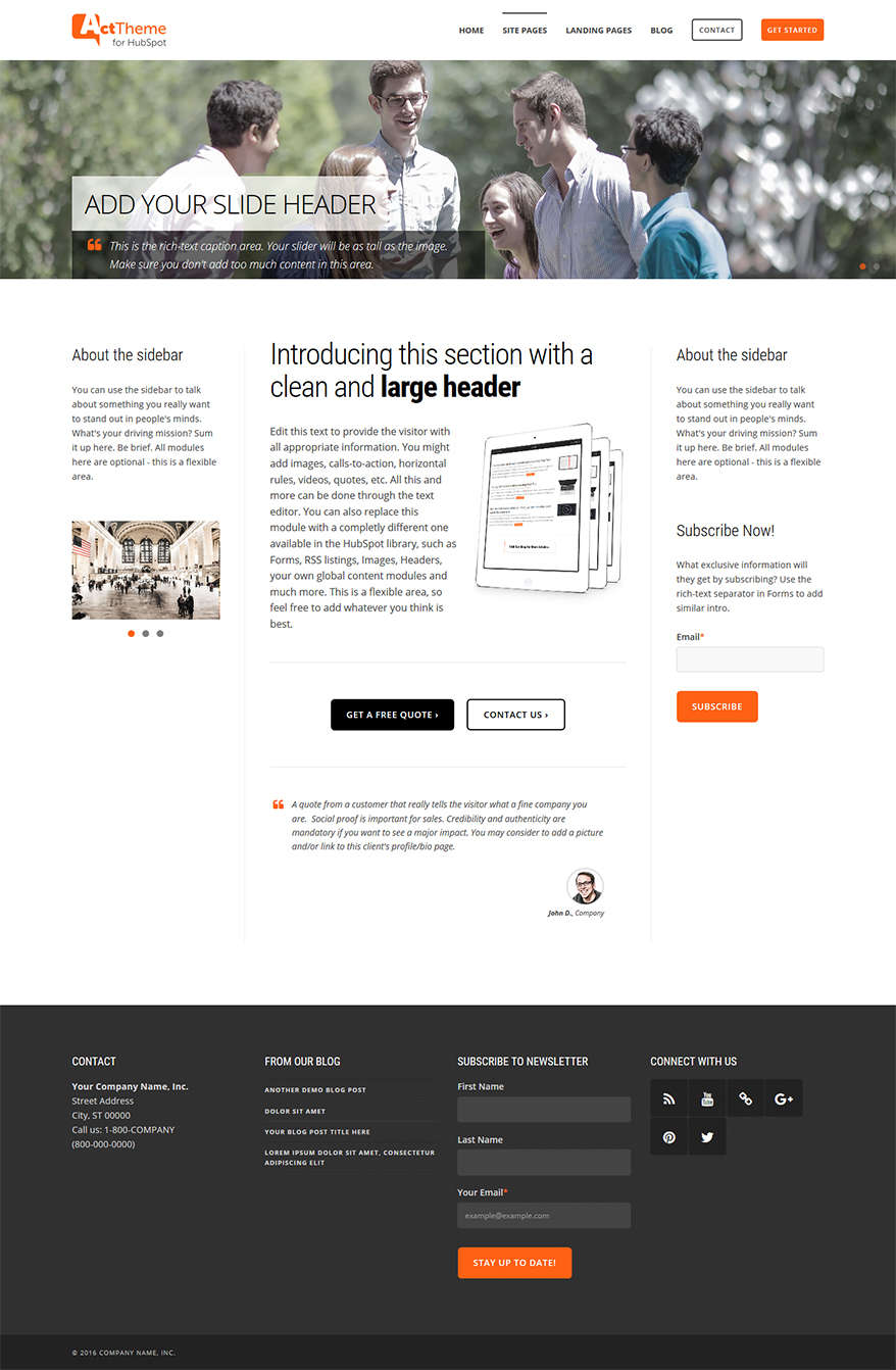 Act Three Column, Slider - Site Page Template for HubSpot