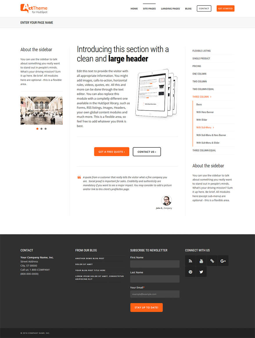 Act Three Column, Sub-Menu - Site Page Template for HubSpot
