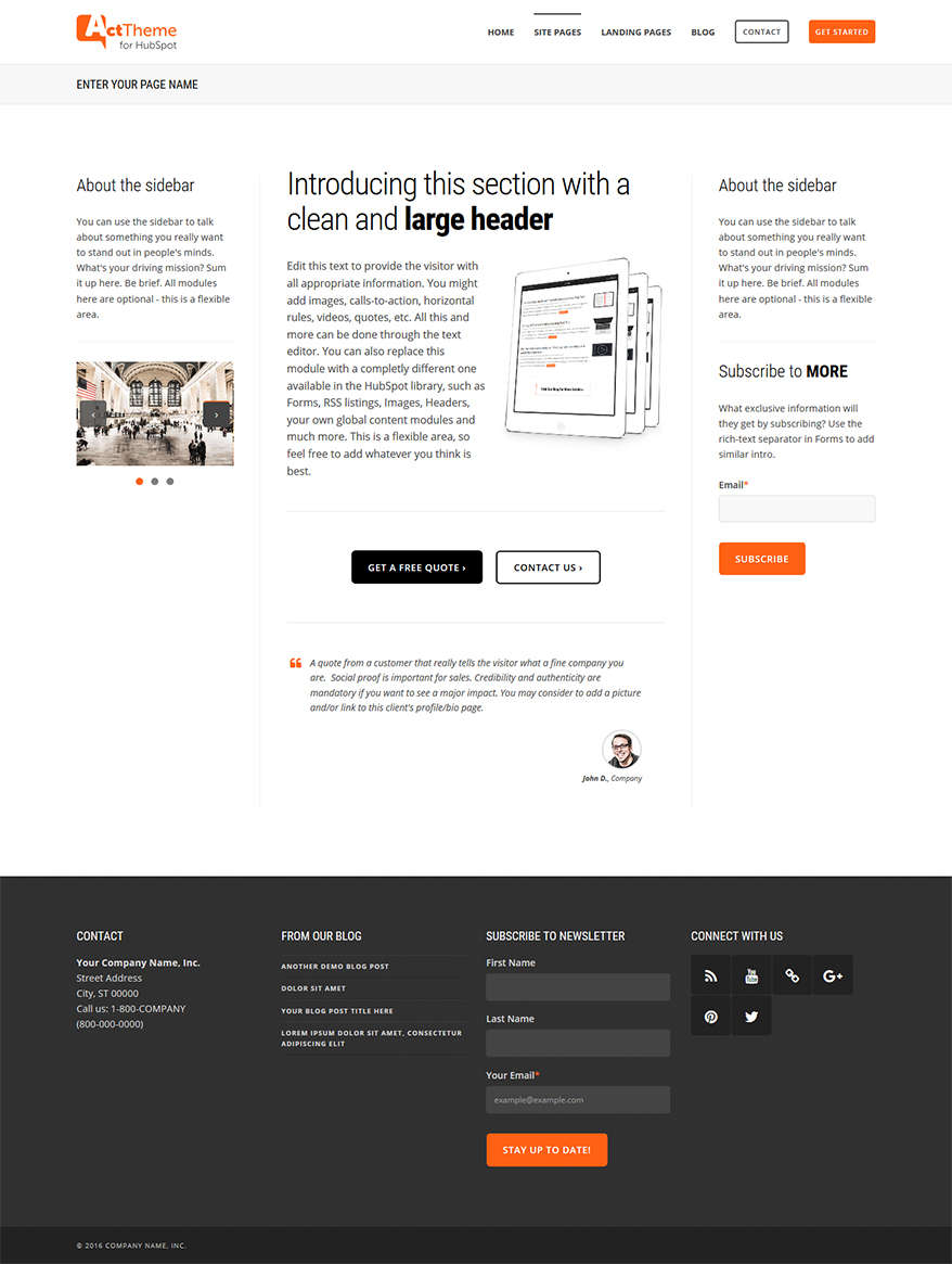 Act Three Column - Site Page Template for HubSpot