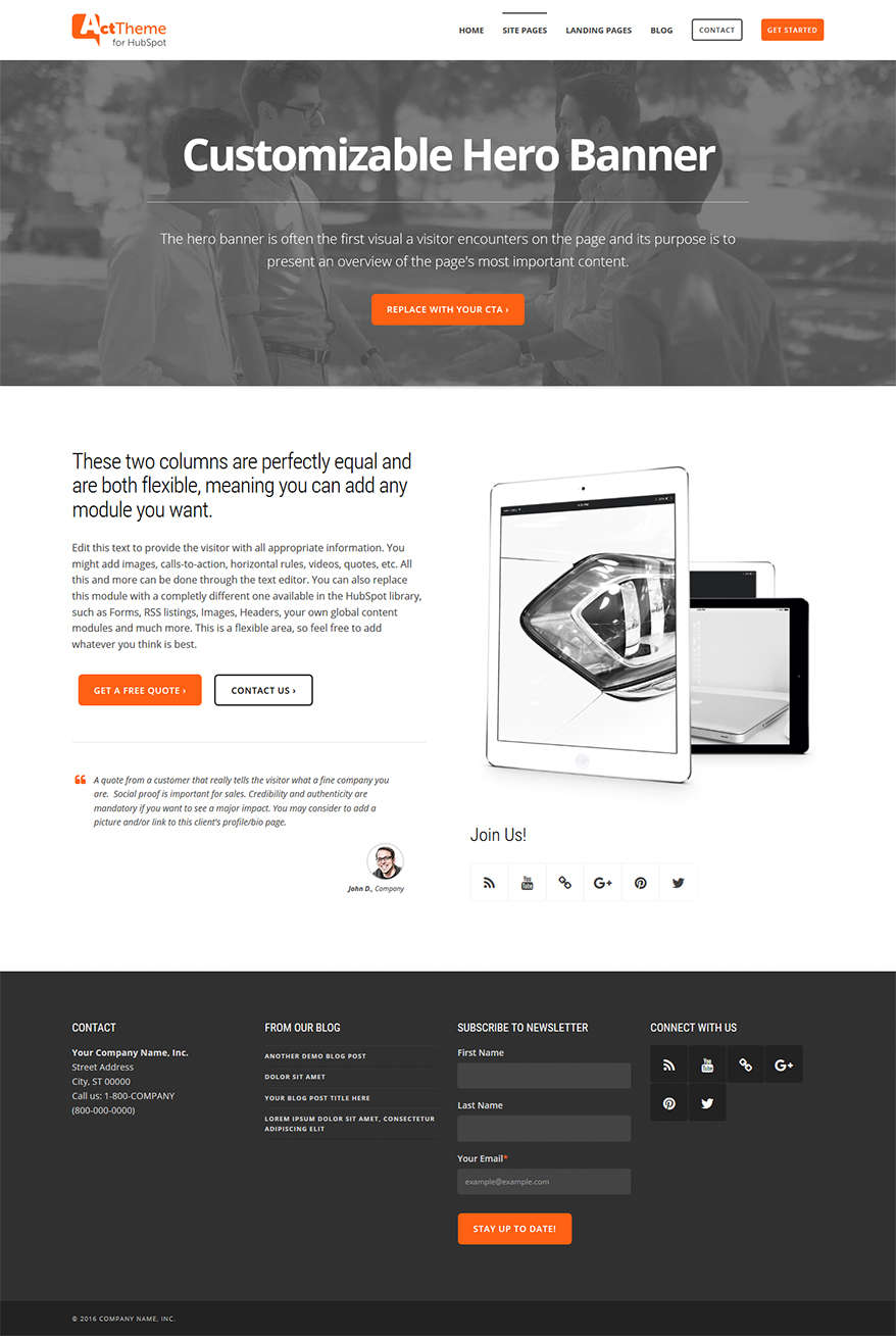 Act Two Column Equal, Hero - Site Page Template for HubSpot