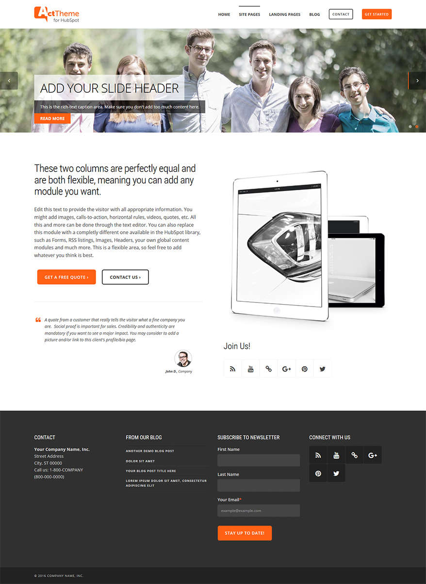 Act Two Column Equal, Slider - Site Page Template for HubSpot