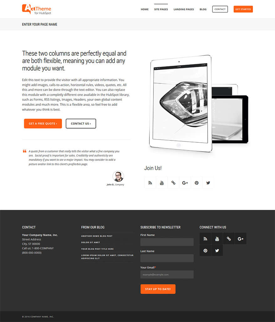 Act Two Column Equal - Site Page Template for HubSpot