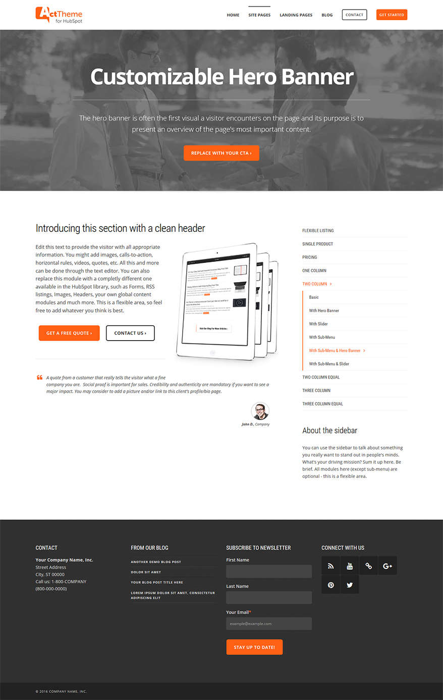 Act Two Column, Hero, Sub-Menu - Site Page Template for HubSpot