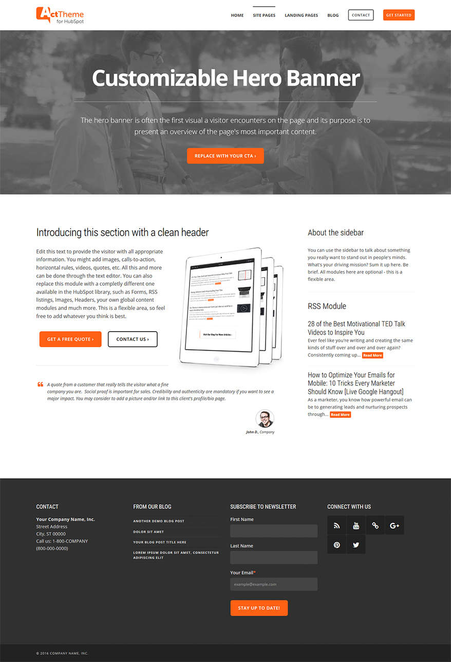 Act Two Column, Hero - Site Page Template for HubSpot
