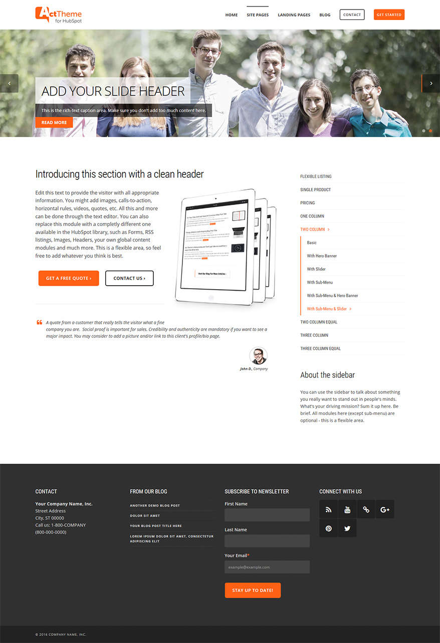 Act Two Column, Slider, Sub-Menu - Site Page Template for HubSpot