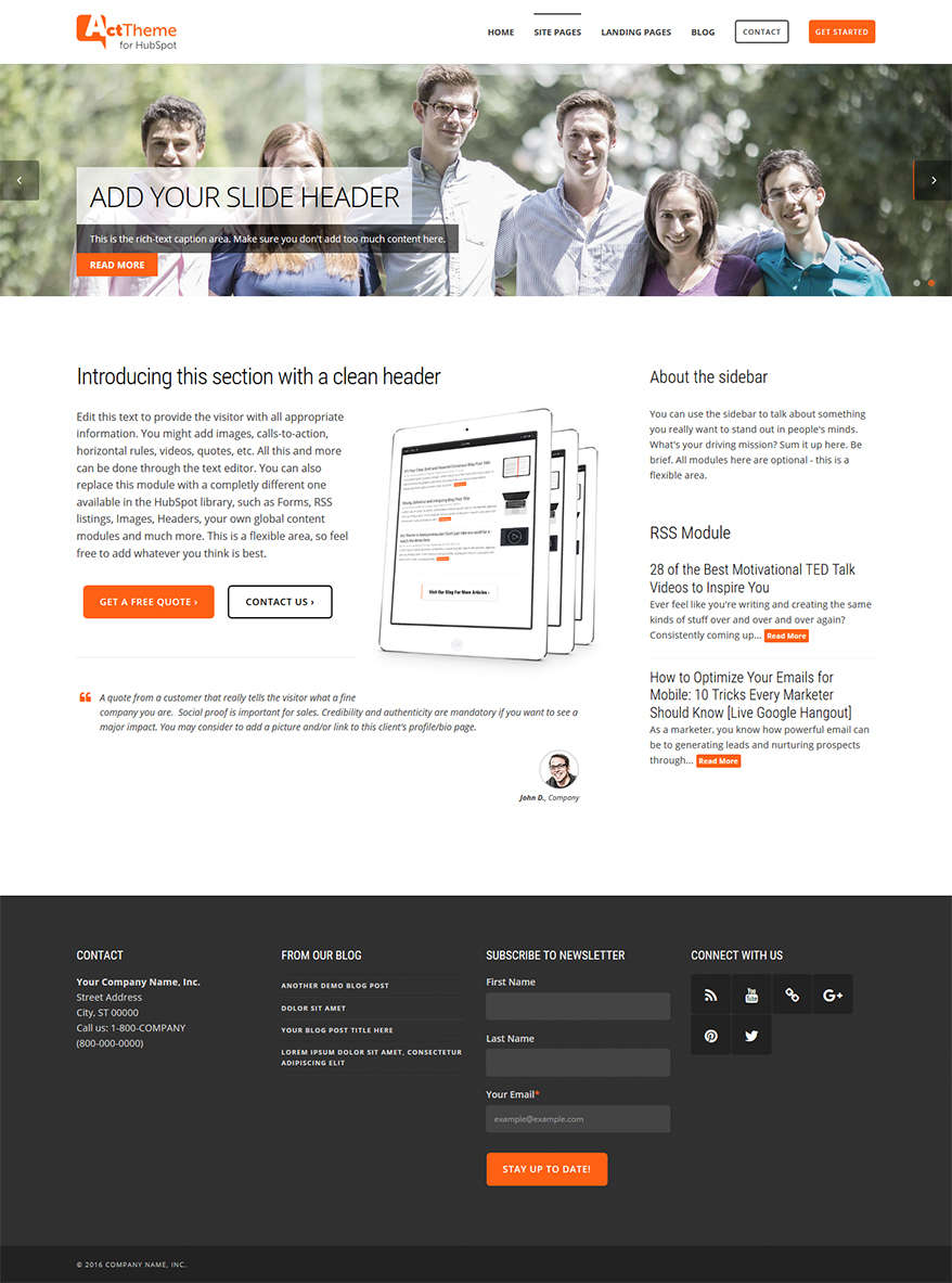 Act Two Column, Slider - Site Page Template for HubSpot
