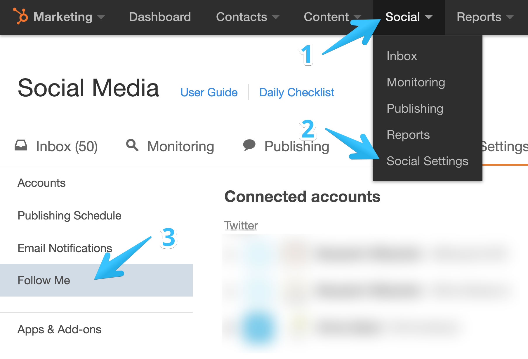 Access Follow Me module settings in HubSpot