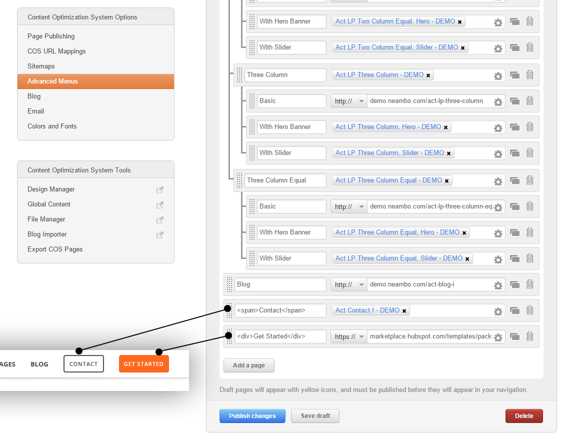 Adding HTML tags in menu item name in HubSpot