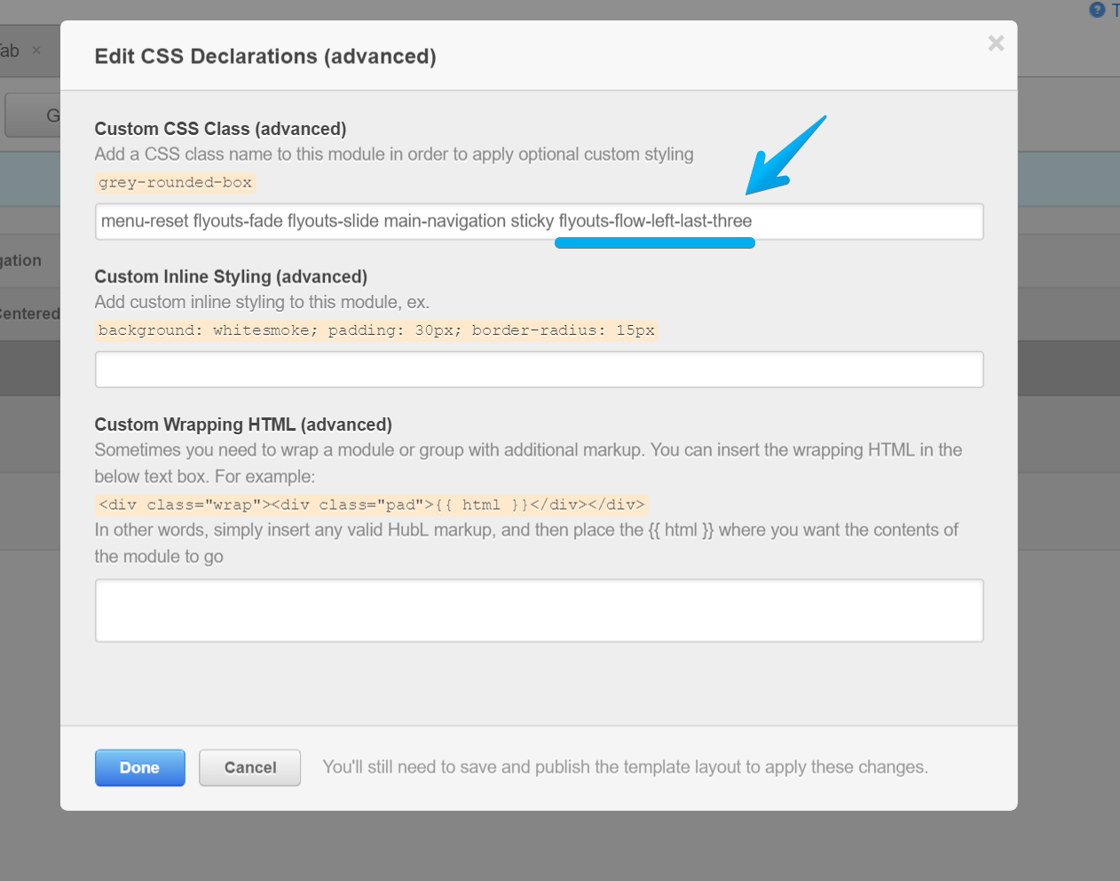 Edit Main Navigation's CSS in Act Theme for HubSpot and add Flyouts Left class