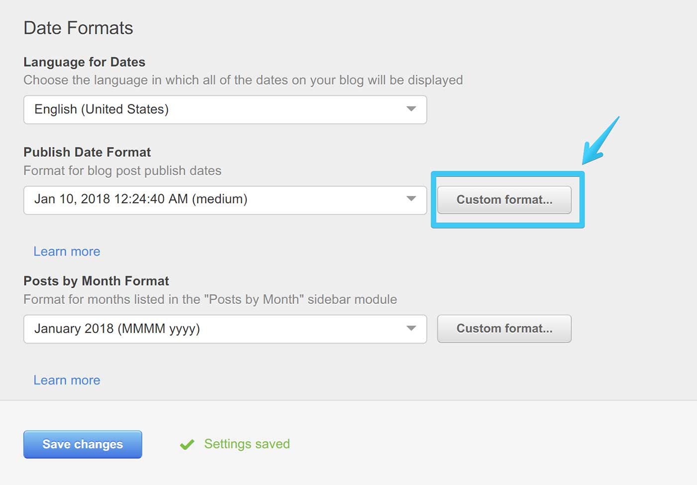 Act2 Content Setting Blog II Publish Date Custom Format Button