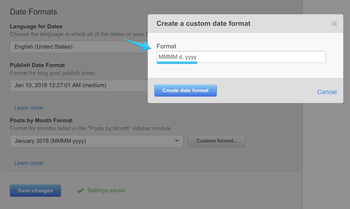 Act2 Content Setting Blog II Publish Date Custom Format