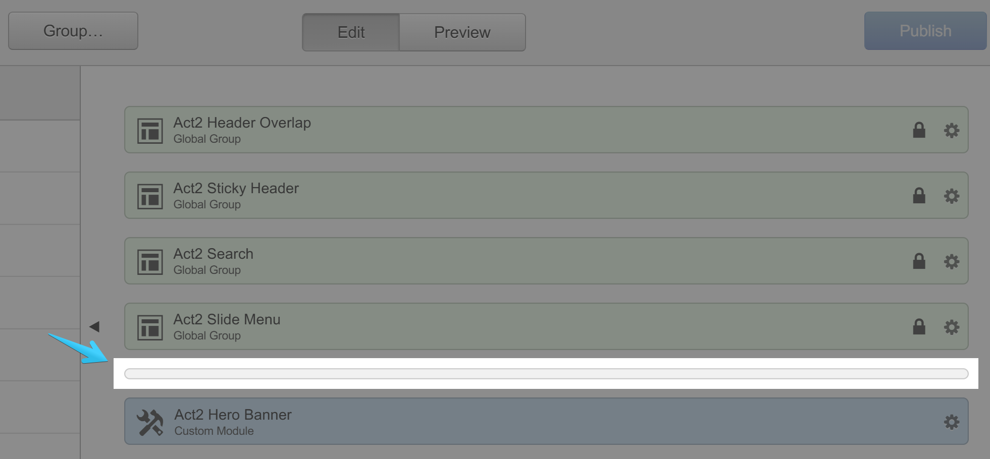 Act2 Template Builder Header Delimiter