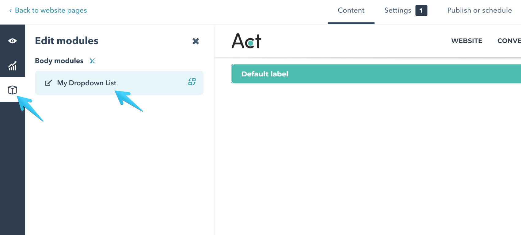 Act2 Page Editor List Type Dropdown Select Module