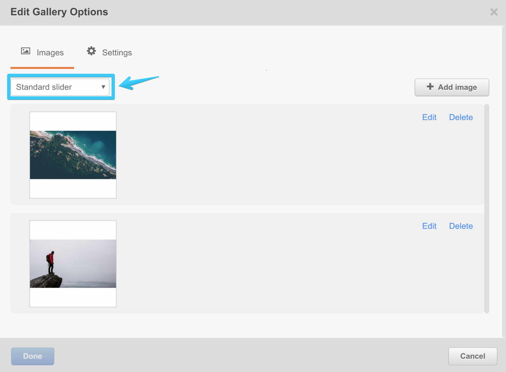 Act2 Template Builder Image Gallery Module Standard Slider setting