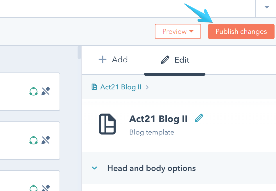 Act2 Template Builder Blog II Publish Button