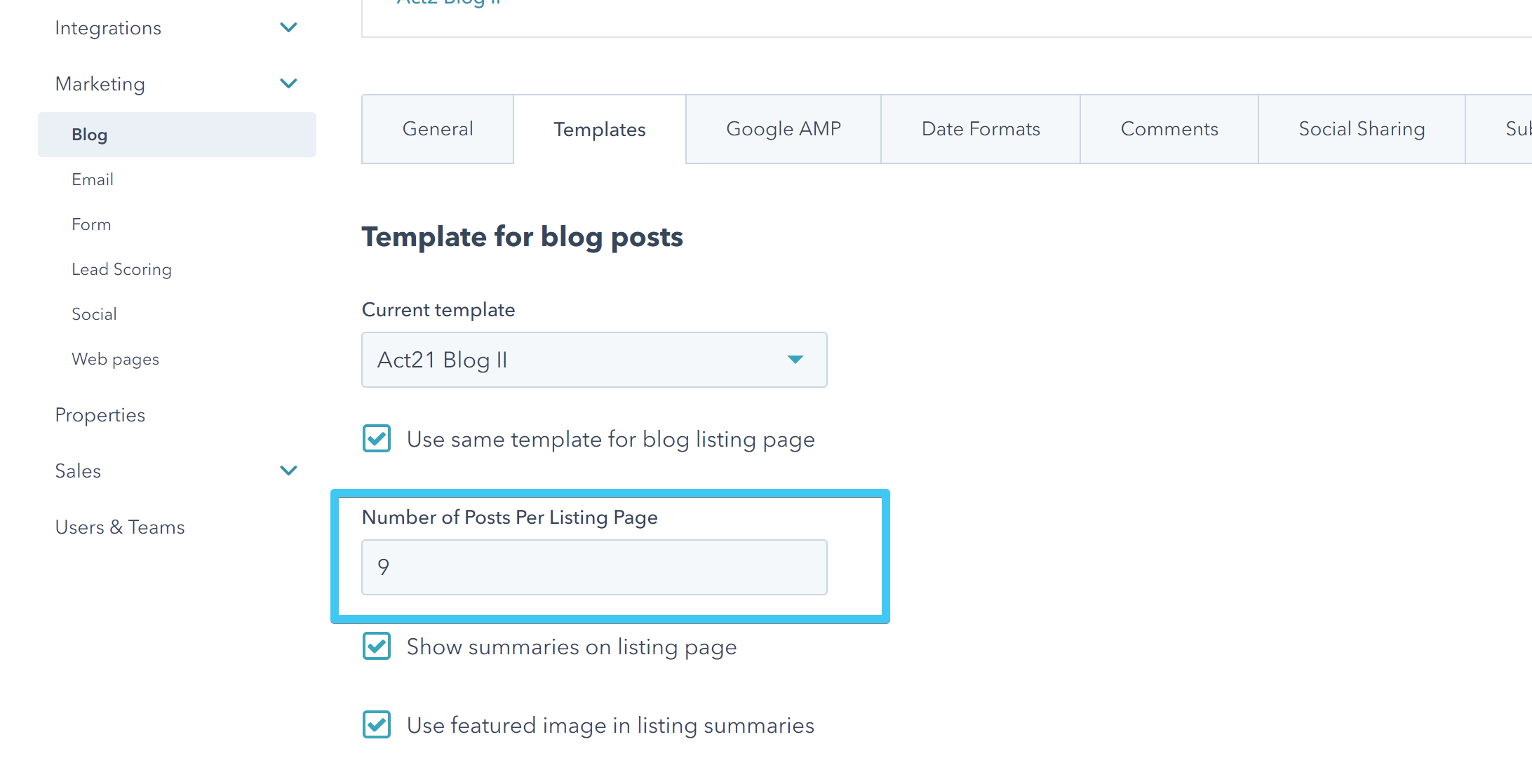 Act2 Content Settings Blog II Choose Number of Posts Per Listing