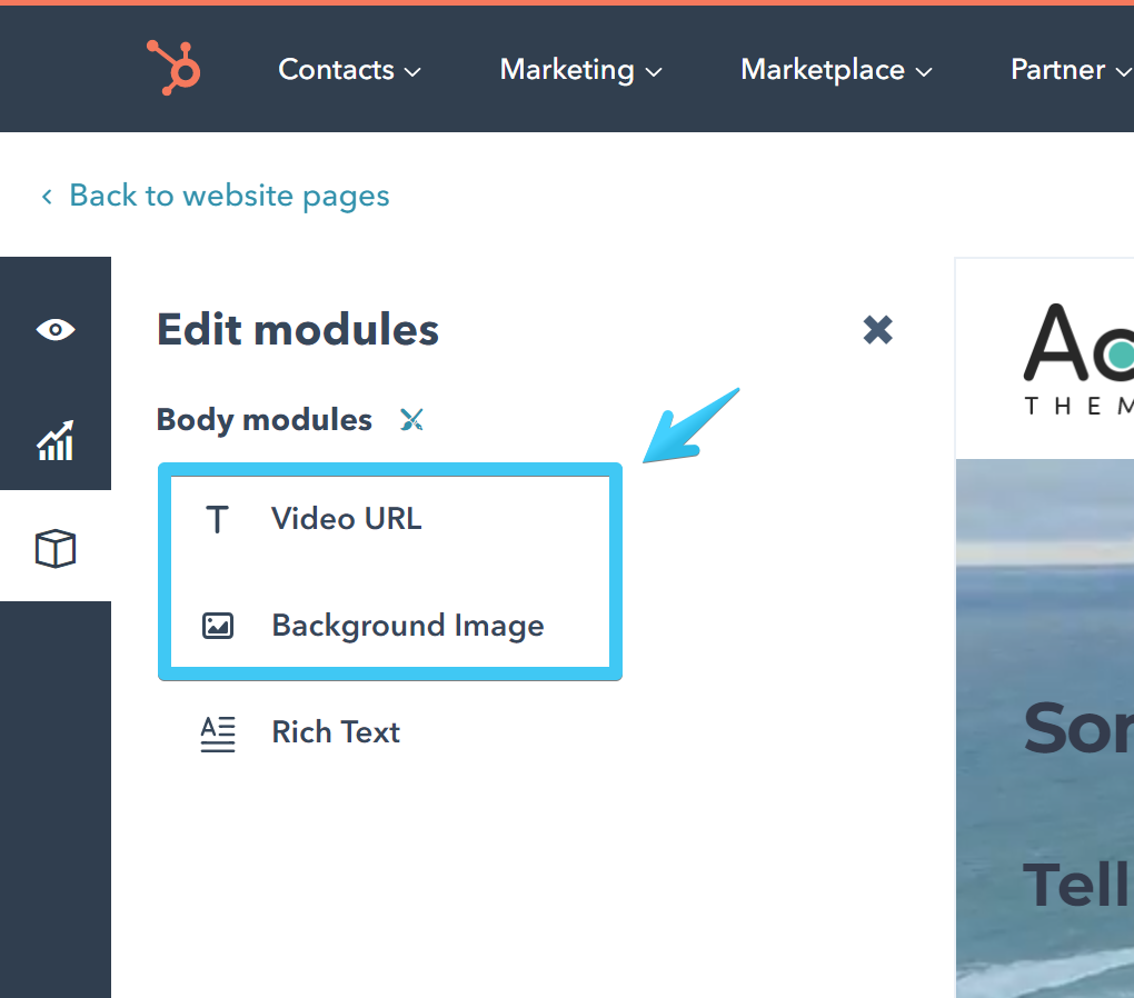 Act2 Page Editor Edit Modules Button
