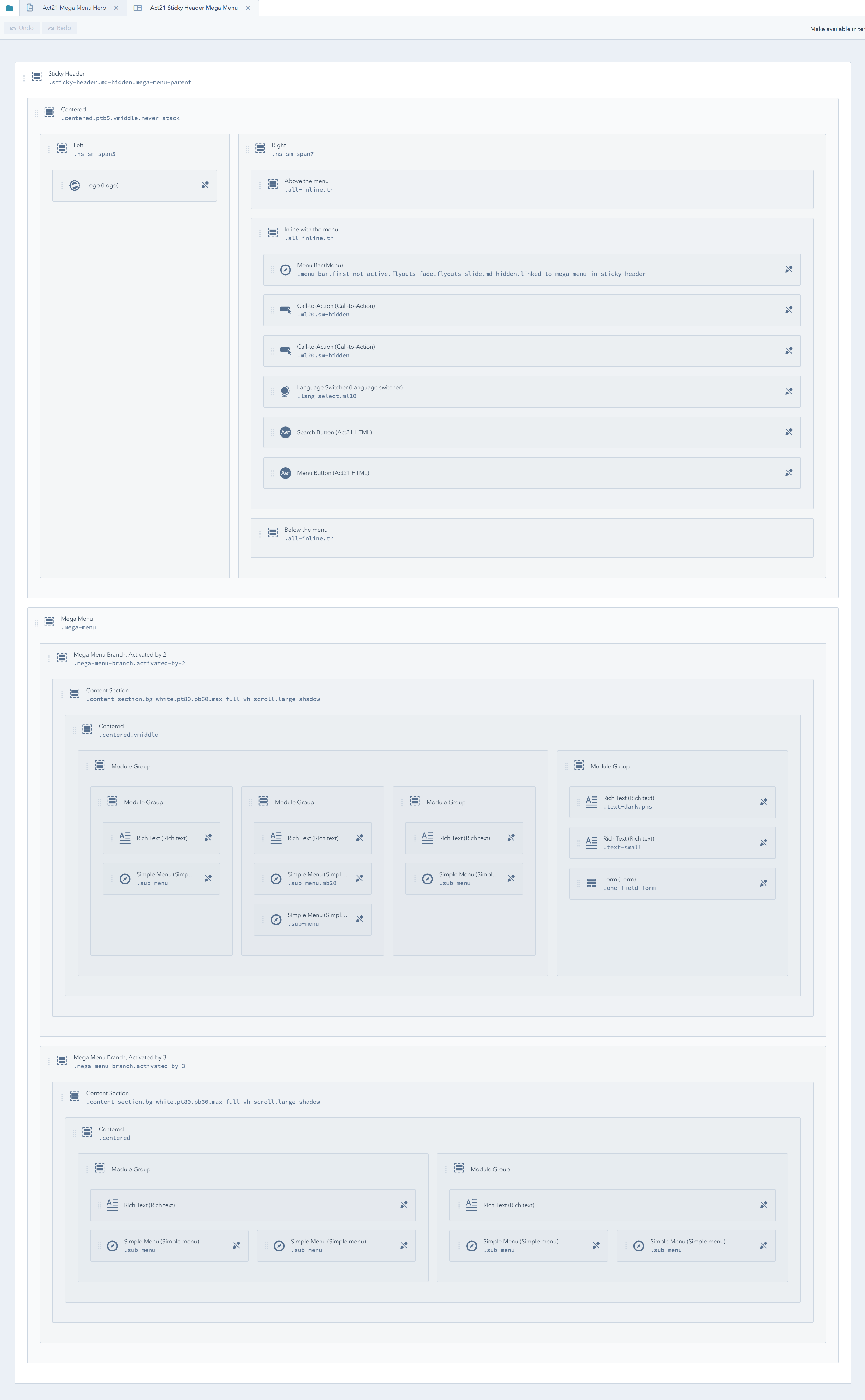 Act21 Sticky Header Mega Menu structure